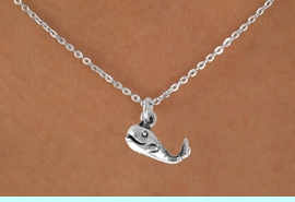 """<Br>             LEAD & NICKEL FREE!!<BR>      W14642N - SMILING WHALE<Br>CHILDREN'S 12"""" CHAIN NECKLACE<BR>                  AS LOW AS $3.55"""