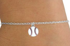 <Br>         LEAD & NICKEL FREE!!<BR>  W14643B - BASEBALL ON A<Br>CHILDREN'S CHAIN BRACELET<BR>              AS LOW AS $3.25