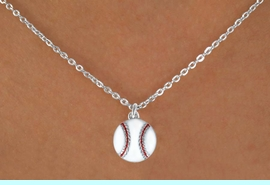 """<Br>            LEAD & NICKEL FREE!!<BR>     W14644N - BASEBALL ON A<Br>CHILDREN'S 12"""" CHAIN NECKLACE<BR>                  AS LOW AS $3.55"""
