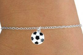 <Br>         LEAD & NICKEL FREE!!<BR>W14645B - SOCCER BALL ON A<Br> CHILDREN'S CHAIN BRACELET<BR>               AS LOW AS $3.25