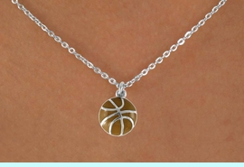 """<Br>             LEAD & NICKEL FREE!!<BR>    W14648N - BASKETBALL ON A<Br>CHILDREN'S 12"""" CHAIN NECKLACE<BR>                   AS LOW AS $3.55"""