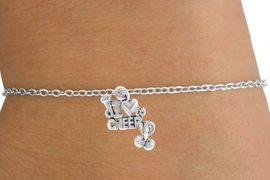 "<Br>         LEAD & NICKEL FREE!!<BR>W14651B - ""I LOVE TO CHEER""<Br> CHILDREN'S CHAIN BRACELET<BR>              AS LOW AS $3.25"