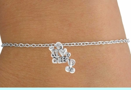 """<Br>         LEAD & NICKEL FREE!!<BR>W14651B - """"I LOVE TO CHEER""""<Br> CHILDREN'S CHAIN BRACELET<BR>              AS LOW AS $3.25"""