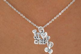 """<Br>             LEAD & NICKEL FREE!!<BR>    W14652N - """"I LOVE TO CHEER""""<Br>CHILDREN'S 12"""" CHAIN NECKLACE<BR>                  AS LOW AS $3.55"""