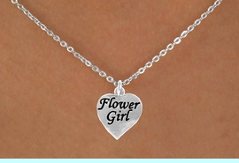 """<Br>            ADJUSTABLE  LEAD, CADMIUN & NICKEL FREE!!<BR>W14745N - """"FLOWER GIRL"""" HEART<Br>CHILDREN'S 8"""" CABLE CHAIN NECKLACE<BR>                   AS LOW AS $5.55"""