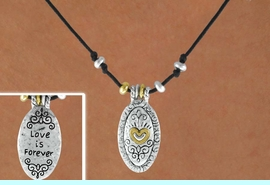 """<Br>                 LEAD & NICKEL FREE!!<Br> W14980NE - DOUBLE SIDED 2-TONE<br>""""LOVE IS FOREVER"""" OVAL WITH HEART<Br>          NECKLACE AND EARRING SET<Br>            FROM $5.06 TO $11.25"""