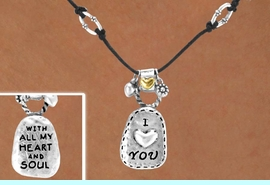 """<Br>               LEAD & NICKEL FREE!!<Br>W14982NE - """"I LOVE YOU"""" DOUBLE<br>   SIDED NECKLACE & EARRING SET<br>              FROM $5.06 TO $11.25"""