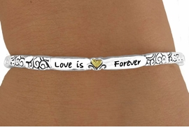 "<Br>                LEAD & NICKEL FREE!!<Br>W14983B - TWO-TONE STACKABLE<bR>       ""LOVE IS FOREVER"" STRETCH <Br>    BRACELET FROM $3.94 TO $8.75"