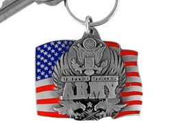 """<Br>                LEAD & NICKEL FREE!!!<Br>W15076KC - """"UNITED STATES ARMY""""<br>     AMERICAN FLAG ARMED FORCES<br>          KEY CHAIN AS LOW AS $2.99"""