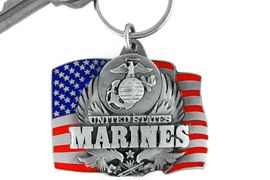 """<Br>                   LEAD & NICKEL FREE!!!<Br>W15079KC - """"UNITED STATES MARINES""""<br>        AMERICAN FLAG ARMED FORCES<br>             KEY CHAIN AS LOW AS $2.99"""
