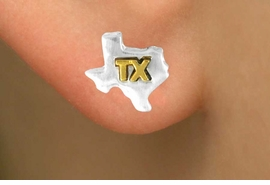 <Br>              LEAD & NICKEL FREE!!<Br>W15093E - TWO-TONE MINIATURE<Br>TEXAS EARRINGS AS LOW AS $3.65