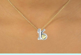 """<Br>              LEAD & NICKEL FREE!!<br>W15095N - TWO-TONE MINIATURE<Br>         """"16"""" AND HEART NECKLACE <BR>                        AS LOW AS $3.65"""