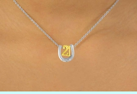 """<Br>              LEAD & NICKEL FREE!!<br>W15096N - TWO-TONE MINIATURE<Br>  """"21"""" AND HORSESHOE NECKLACE <BR>                  AS LOW AS $4.20"""