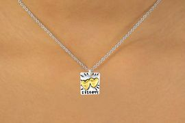 """<Br>              LEAD & NICKEL FREE!!<br>W15098N - TWO-TONE MINIATURE<Br>               """"SISTERS"""" NECKLACE <BR>                       AS LOW AS $3.65"""