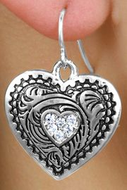 <Br>            LEAD & NICKEL FREE!!<Br>     W15658E - WESTERN STYLE<Br>      CRYSTAL ACCENTED HEART<Br>EARRINGS FROM $3.94 TO $8.75