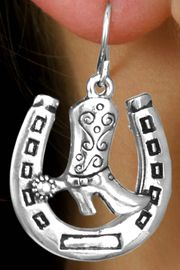 <Br>                 LEAD & NICKEL FREE!!<Br>  W15660E - HORSESHOE & COWBOY<BR>BOOT EARRINGS FROM $3.38 TO $7.50