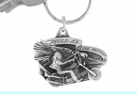 """<Br>              LEAD & NICKEL FREE!!<Br>W15667KC - """"WILD AS THE WIND""""<Br> PEWTER MOTORCYCLE KEY CHAIN<bR>                             FROM $2.99"""