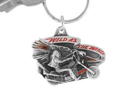 """<Br>                LEAD & NICKEL FREE!!<Br>   W15670KC - """"WILD AS THE WIND""""<Br>ENAMELED MOTORCYCLE KEY CHAIN<bR>                             FROM $2.99"""