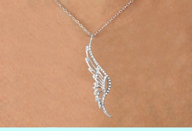 <Br>               LEAD & NICKEL FREE!!<Br>    W15825N - ELEGANT AUSTRIAN<Br>CRYSTAL ACCENTED WING PENDANT<Br> NECKLACE FROM $5.06 TO $11.25