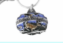 """<Br>                    LEAD & NICKEL FREE!!<Br>W15846KC - """"I'D RATHER BE HUNTING""""<Br>  ENAMELED DEER HUNTING KEY CHAIN<bR>                                 FROM $2.99"""