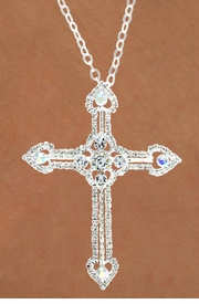 """<Br>             LEAD & NICKEL FREE!!<BR>   W15916N - AUSTRIAN CRYSTAL<Br>COVERED """"HEART TIPPED"""" CROSS<Br> NECKLACE FROM $6.19 TO $13.75"""