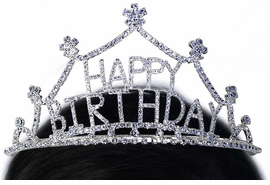"<Br>           LEAD & NICKEL FREE!!<Br>W15926T - GENUINE AUSTRIAN<Br>     CRYSTAL FLOWER-TIPPED<br>     ""HAPPY BIRTHDAY"" TIARA<bR>        FROM $15.90 TO $30.00"