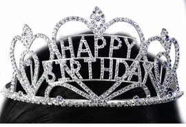 "<bR>          LEAD & NICKEL FREE!!<bR>W15927T - GENUINE AUSTRIAN<Br>       CRYSTAL TRIPLE-HEART<bR>    ""HAPPY BIRTHDAY"" TIARA<Br>       FROM $21.20 TO $40.00"