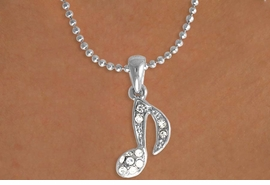 "<Br>               LEAD & NICKEL FREE!!<Br>    W15935N - GENUINE AUSTRIAN<Br>CRYSTAL MUSICAL ""EIGHTH NOTE""<Br>  NECKLACE FROM $2.25 TO $5.00"
