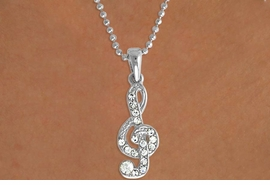 "<Br>              LEAD & NICKEL FREE!!<Br>   W15936N - GENUINE AUSTRIAN<Br>CRYSTAL MUSICAL ""TREBLE CLEF""<Br>  NECKLACE FROM $2.81 TO $6.25"
