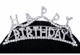 "<Br>               LEAD & NICKEL FREE!!<Br>     W15939T - ""HAPPY BIRTHDAY""<Br>GENUINE AUSTRIAN CRYSTAL TIARA<Br>       COMB FROM $7.31 TO $13.50"