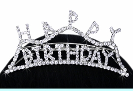 """<Br>               LEAD & NICKEL FREE!!<Br>     W15939T - """"HAPPY BIRTHDAY""""<Br>GENUINE AUSTRIAN CRYSTAL TIARA<Br>       COMB FROM $7.31 TO $13.50"""