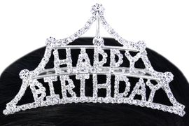 """<Br>          LEAD & NICKEL FREE!!<Br>W15940T - """"HAPPY BIRTHDAY""""<Br>     AUSTRIAN CRYSTAL TIARA<Br>  COMB FROM $8.13 TO $15.00"""