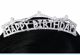 """<Br>                LEAD & NICKEL FREE!!<Br>      W15941T - """"HAPPY BIRTHDAY""""<Br>       MARQUEE AUSTRIAN CRYSTAL<Br>TIARA COMB FROM $9.75 TO $18.00"""