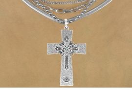 <Br>                      LEAD & NICKEL FREE!!<Br>      W16189NE - TEXTURED SILVER TONE<Br>CROSS PENDANT WITH AURORA BOREALIS<Br>   AUSTRIAN CRYSTAL ACCENTED FLOWER<Br>DECOR NECKLACE FROM $15.19 TO $33.75
