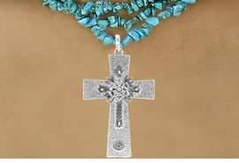 <Br>                     LEAD & NICKEL FREE!!<Br>      W16191NE - TEXTURED SILVER TONE<Br>CROSS PENDANT WITH AURORA BOREALIS<Br>   AUSTRIAN CRYSTAL ACCENTED FLOWER<Br>DECOR NECKLACE FROM $15.75 TO $35.00