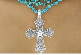 "<Br>                    LEAD & NICKEL FREE!!<BR>  W16209N - ""SILVER SWIRL"" CROSS &<Br>         AURORA BOREALIS RAISED STAR<Br>PENDANT & MULTI-STRAND TURQUOISE<Br>       NECKLACE FROM $15.19 TO $33.75"