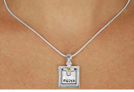 "<Br>              LEAD & NICKEL FREE!!<Br>    W16221N - TWO-TONE ""FAITH""<Br>FRAME & CROSS CHARM NECKLACE<Br>             FROM $5.06 TO $11.25"