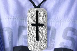 <Br>                LEAD & NICKEL FREE!!<Br>     W16299N - MEN'S BLACK CORD<Br>HAMMERED METAL & SUEDE WOVEN<Br>             CROSS NECKLACE FROM<bR>                      $5.06 TO $11.25