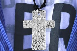 <Br>                  LEAD & NICKEL FREE!!<Br> W16300N - MEN'S LARGE HAMMERED<Br>         METAL CROSS NECKLACE FROM<br>                          $5.06 TO $11.25