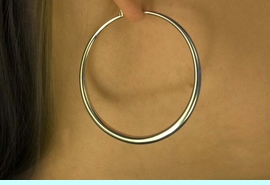 """<Br>           LEAD & NICKEL FREE!!<Br>    W16314E - 2"""" GOLD FINISH<Br>BRIDGE-WIRE HOOP EARRINGS<Br>          FROM $5.63 TO $12.50"""