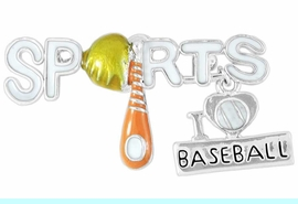 """<Br>              LEAD & NICKEL FREE!!<Br>W16322P - """"SPORTS"""" AND """"I LOVE<Br>     BASEBALL"""" CHARM PIN FROM<Br>                     $2.81 TO $6.25"""