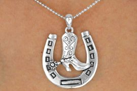 <br>                    LEAD & NICKEL FREE!!<Br>  W16339NE - SILVER TONE HORSESHOE<Br>& COWBOY BOOT BALL CHAIN NECKLACE<Br>      & EARRINGS FROM $7.85 TO $17.50