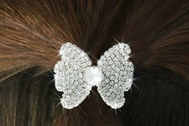 """<Br>            LEAD & NICKEL FREE!!<br>W16565HJ - GENUINE AUSTRIAN<Br>      CRYSTAL COVERED """"BOW""""<Br>        PONYTAIL HOLDER FROM<BR>                 $9.00 TO $20.00"""