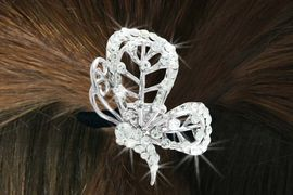 """<Br>             LEAD & NICKEL FREE!!<br> W16568HJ - GENUINE AUSTRIAN<Br>CRYSTAL COVERED """"BUTTERFLY""""<Br>        PONYTAIL HOLDER FROM<BR>                  $7.85 TO $17.50"""
