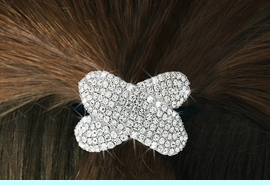 """<Br>            LEAD & NICKEL FREE!!<br>W16569HJ - GENUINE AUSTRIAN<Br>      CRYSTAL COVERED """"BOW""""<Br>       PONYTAIL HOLDER FROM<BR>                 $9.00 TO $20.00"""