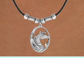 <bR>             LEAD & NICKEL FREE!!<Br>    W16744N - HORSE'S HEAD IN<Br>     ETCHED METAL OVAL FRAME<Br>NECKLACE FROM $5.63 TO $12.50