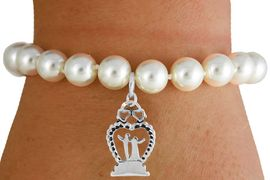 """<Br>                LEAD & NICKEL FREE!!<Br>    W16753B - CREAM COLOR FAUX<Br>PEARL & """"BRIDE & GROOM"""" CHARM<Br>     BRACELET FROM $6.13 TO $10.75"""