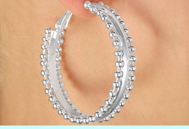 <Br>            LEAD & NICKEL FREE!!<Br>W17049EA - 2-SIZE SILVER TONE<Br>    BALL-CHAIN TRIMMED HOOP<Br>    EARRING ASSORTMENT FROM<bR>                   $5.06 TO $10.13