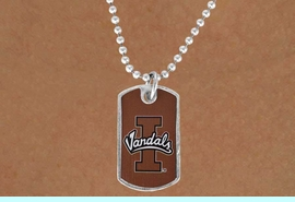 """<Br>            LEAD & NICKEL FREE!!<bR>W17151N - LICENSED IDAHO<Br> UNIVERSITY """"VANDALS"""" DOG<bR> TAG NECKLACE FROM $3.94 TO $8.75"""
