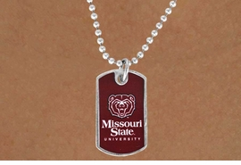 <Br>            LEAD & NICKEL FREE!!<bR>       W17231N - LICENSED<Br> MISSOURI STATE UNIVERSITY DOG<bR> TAG NECKLACE FROM $3.94 TO 8.75